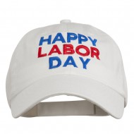 Happy Labor Day Embroidered Washed Cap - White