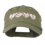 Love Hearts Embroidered Cotton Cap - Olive