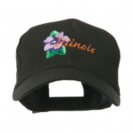 USA State Flower Illinois Violet Embroidered Cap - Black