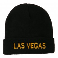 Las Vegas Embroidered Long Beanie - Black