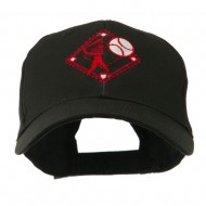 Baseball with Big Ball Logo Embroidered Cap - Black