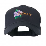 USA State Flower Illinois Violet Embroidered Cap - Navy