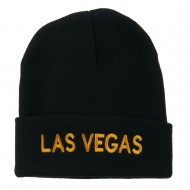 Las Vegas Embroidered Long Beanie - Navy