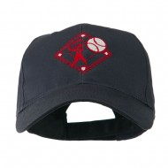 Baseball with Big Ball Logo Embroidered Cap - Navy