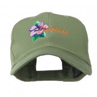USA State Flower Illinois Violet Embroidered Cap - Olive
