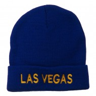 Las Vegas Embroidered Long Beanie - Royal