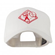 Baseball with Big Ball Logo Embroidered Cap - White