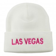 Las Vegas Embroidered Long Beanie - White