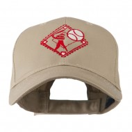 Baseball with Big Ball Logo Embroidered Cap - Khaki