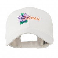 USA State Flower Illinois Violet Embroidered Cap - White