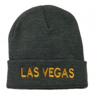 Las Vegas Embroidered Long Beanie - Grey