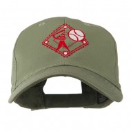 Baseball with Big Ball Logo Embroidered Cap - Olive