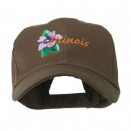 USA State Flower Illinois Violet Embroidered Cap - Brown