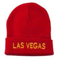 Las Vegas Embroidered Long Beanie - Red