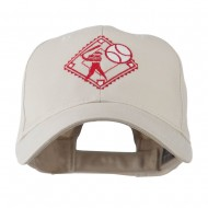Baseball with Big Ball Logo Embroidered Cap - Stone