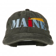 Maine Lighthouse Embroidered Washed Pigment Dyed Cap - Black