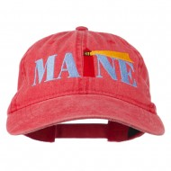 Maine Lighthouse Embroidered Washed Pigment Dyed Cap - Red