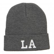 LA Louisiana State Embroidered Long Beanie - Dk Grey