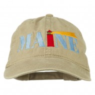 Maine Lighthouse Embroidered Washed Pigment Dyed Cap - Khaki