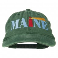 Maine Lighthouse Embroidered Washed Pigment Dyed Cap - Dark Green