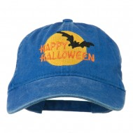 Happy Halloween Full Moon Embroidered Washed Dyed Cap - Royal