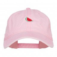 Mini Watermelon Embroidered Washed Cap - Pink