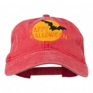 Happy Halloween Full Moon Embroidered Washed Dyed Cap - Red
