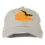 Happy Halloween Full Moon Embroidered Washed Dyed Cap - Stone