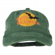 Happy Halloween Full Moon Embroidered Washed Dyed Cap - Dark Green