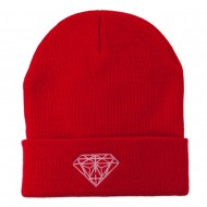 Light Pink Diamond Embroidered Long Cuff Beanie - Red