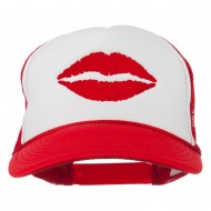 Lip Kiss Embroidered Foam Mesh Back Cap - Red White Red
