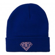Light Pink Diamond Embroidered Long Cuff Beanie - Royal