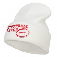 Football Fever Embroidered Long Beanie - White