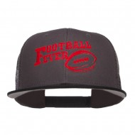 Football Fever Embroidered Mesh Snapback Cap - Black Charcoal