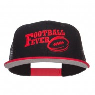Football Fever Embroidered Mesh Snapback Cap - Red Black