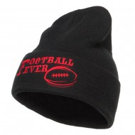 Football Fever Embroidered Long Beanie - Black
