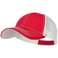 Low Profile Structured Trucker Cap-Red White