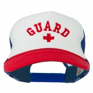 Life Guard Cross Embroidered Foam Mesh Back Cap - Red White Royal