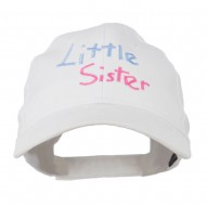 Youth Little Sister Embroidered Cotton Cap - White