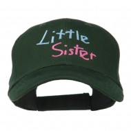 Youth Little Sister Embroidered Cotton Cap - Dark Green