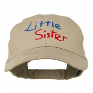 Youth Little Sister Embroidered Cotton Cap - Khaki