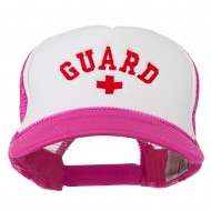 Life Guard Cross Embroidered Foam Mesh Back Cap - Hot Pink White