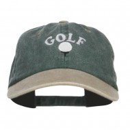 Golf Ball on Tee Embroidered Washed Cap - Spruce Khaki