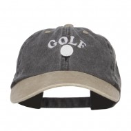 Golf Ball on Tee Embroidered Washed Cap - Black Khaki