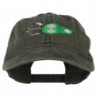 Fishing Bass Lure Embroidered Washed Cap - Black