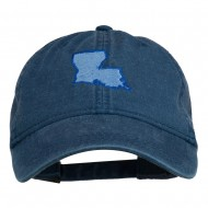 Louisiana State Map Embroidered Washed Cotton Cap - Navy