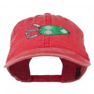 Fishing Bass Lure Embroidered Washed Cap - Red