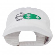 Fishing Bass Lure Embroidered Washed Cap - White