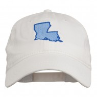 Louisiana State Map Embroidered Washed Cotton Cap - White