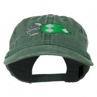 Fishing Bass Lure Embroidered Washed Cap - Dark Green